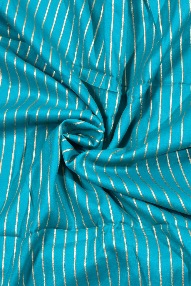 Green Stripes Print Rayon Fabric