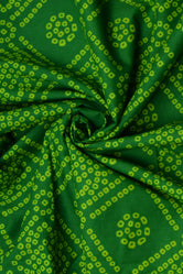 Green Bandhej Print Cotton Fabric