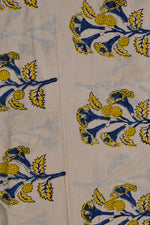 Blue & Yellow Flower Print Bagru Dabu Fabric