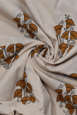 Brown Flower Print Bagru Dabu Fabric