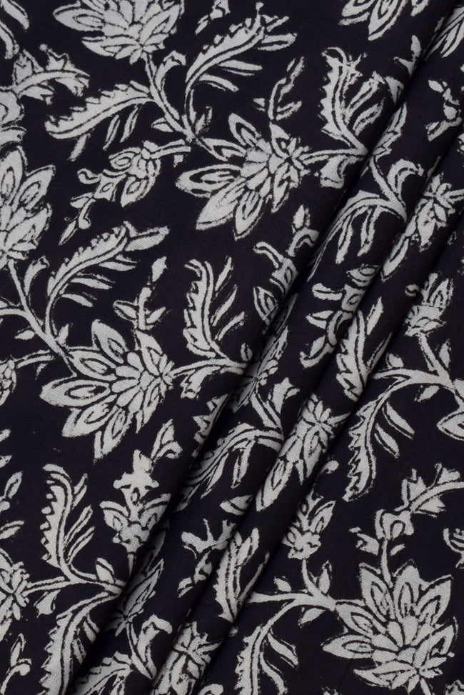 Black Flower Print Cotton Fabric