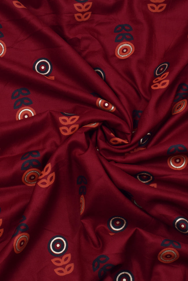 Maroon Gold Flower Print Rayon Fabric