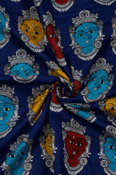Navy Blue Devi Print Cotton Fabric