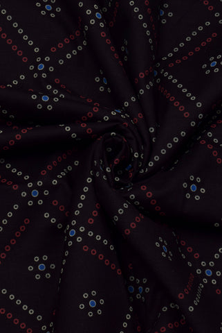 Black Bandhej Print Cotton Fabric