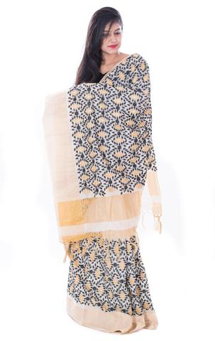 Black Pink and Golden Designer Booti Work White Tussar Silk Saree