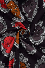 Black Devi Print Cotton Fabric