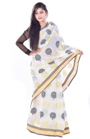 White Tree Print Kanchan Muga Silk Saree