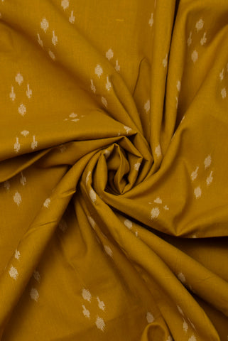 Mustard Abstract Print Cotton Fabric