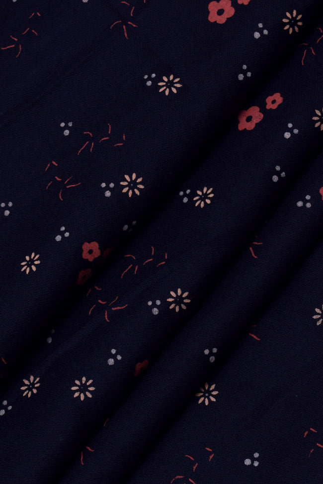 Blackcurrant peach Flower Print Rayon Fabric