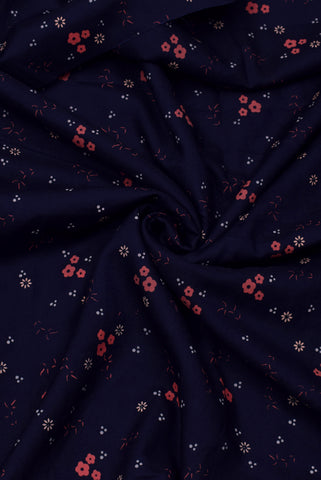 Blackcurrant Violet Flower Print Rayon Fabric