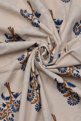 Brown & Blue Tree Print Bagru Dabu Fabric