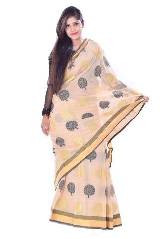 Golden blackTree Print Kanchan Muga Silk Saree