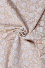 Cream Flower Print Chanderi Silk Fabric