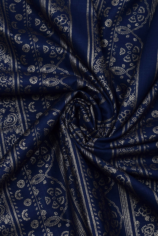 Regal Blue Abstract Print Rayon Fabric