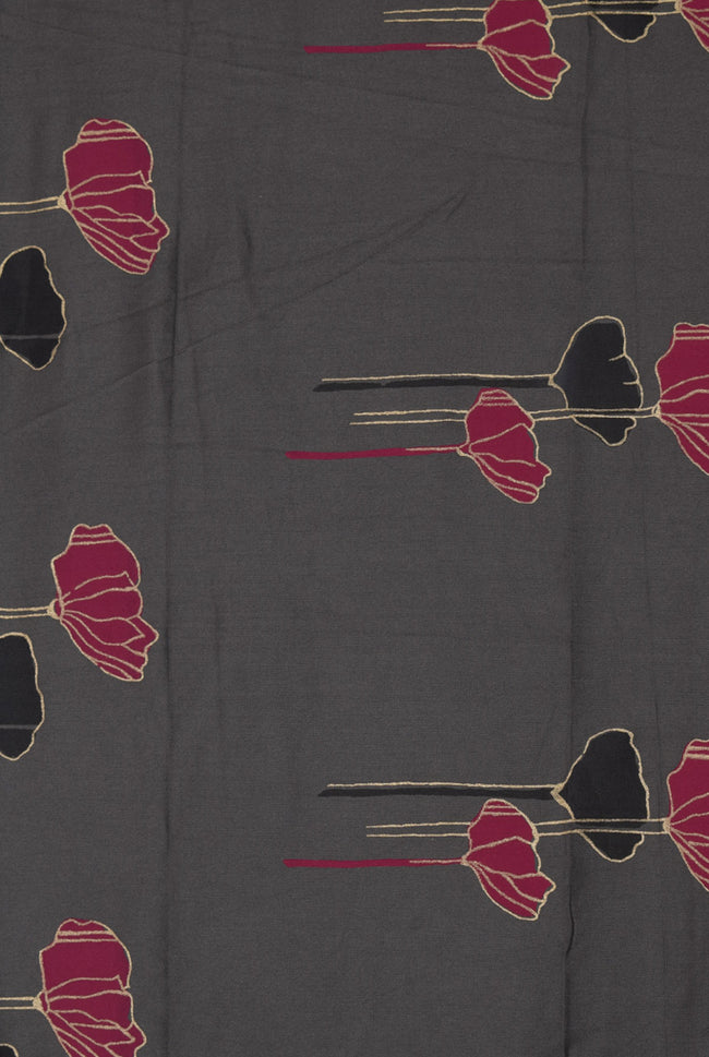 Charcoal Flower Print Rayon Fabric