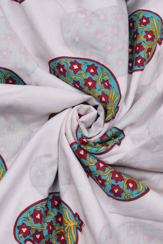 White Buta Print Cotton Fabric