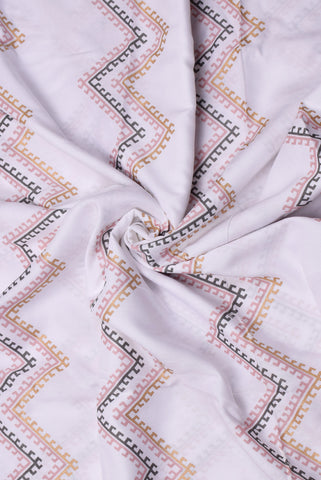 White Zig Zag Pattern Print Cotton Fabric