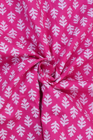 Deep Cerise pink  Leaf Print Cotton Fabric