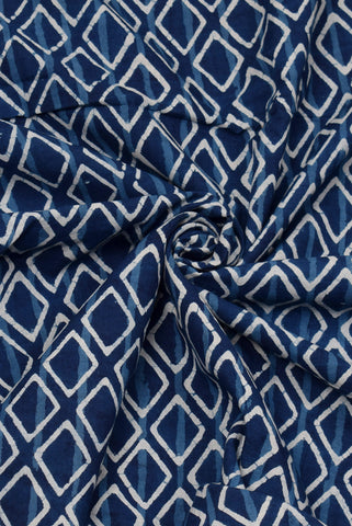 Blue Square Print Indigo Cotton Fabric