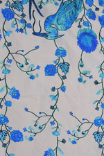 Yellow Sky Blue Flower Print Digital Crepe Fabric