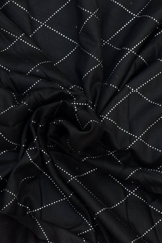 Black Russian White Bandhej Print Rayon Fabric