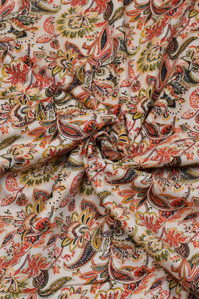 Multicolor Flower Print Rayon Fabric
