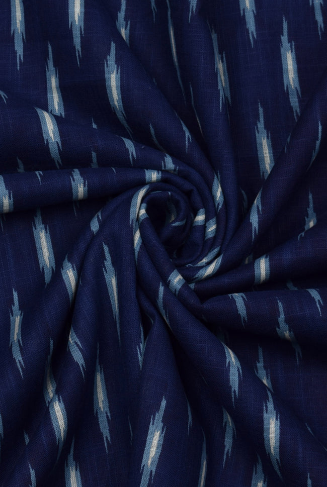 Kashmir Blue Abstract Print Cotton Fabric