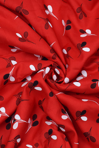 Dark Red Flower Print Rayon Fabric