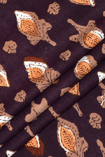 Dark Brown Flower Print Rayon Fabric