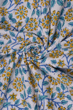 French Flower Hand BlockCotton Fabric