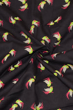 Grey Bird Print Cotton Fabric