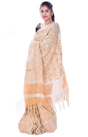 Light Golden Embroidery Manipur Rajgiri Tussar Silk Saree