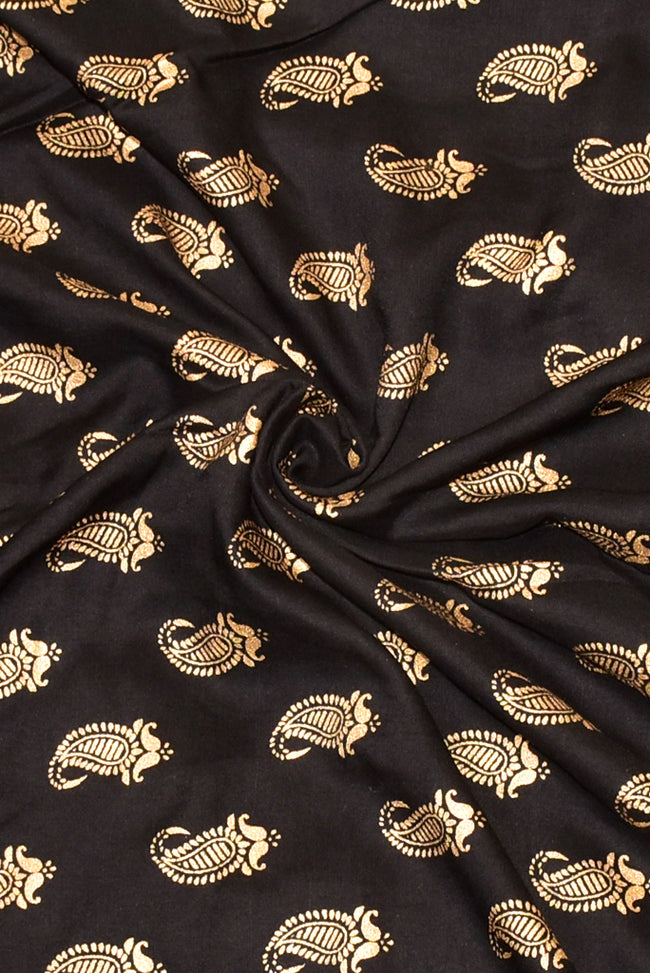 Black Butta Print Rayon Fabric
