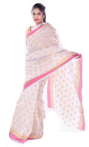 White With Golden Booti and Pink Border Kota Doria Saree