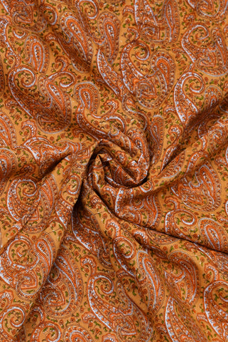 Yellow Butta Print Rayon Fabric