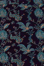 Dark Blue Leaf Print Cotton Fabric