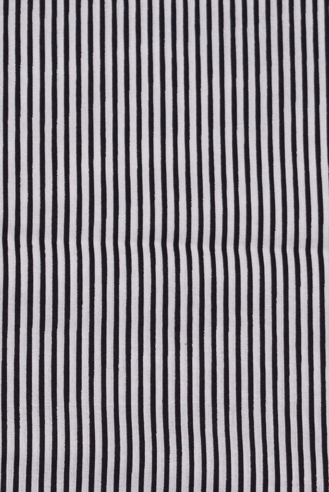 Black Stripes Print Cotton Fabric
