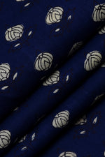 Navy Blue Flower Print Cotton Fabric