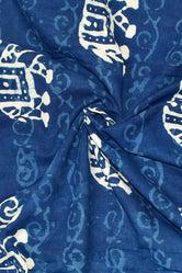 Blue Elephant Print Indigo Cotton Fabric