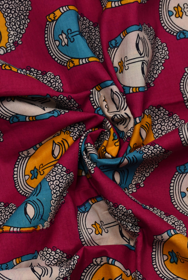 Pink Buddha Print Cotton Fabric