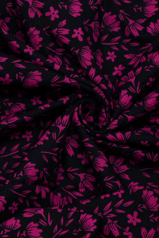 Rani Pink Flower Print Cotton Fabric
