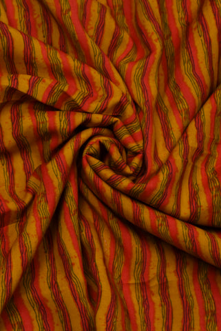 Mustard Color Stripes Print Rayon Fabric
