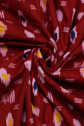 Maroon Abstract Print Rayon Fabric