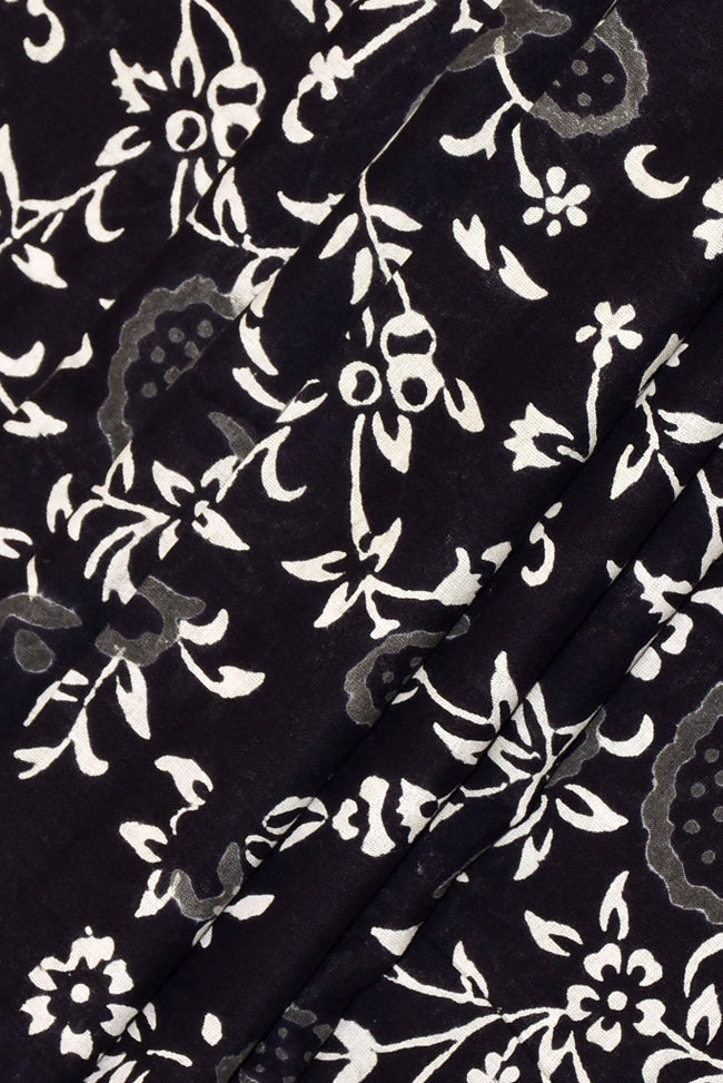 Black Flower Print Handblock Fabric