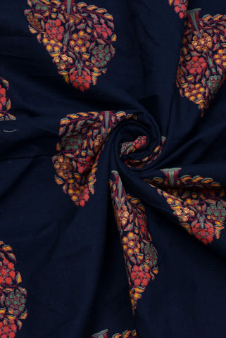 Navy Blue Leaf Print Rayon Fabric