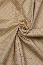 Beige Abstract Gold  Print Cotton Fabric
