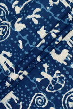 Blue Animal Print Indigo Cotton Fabric