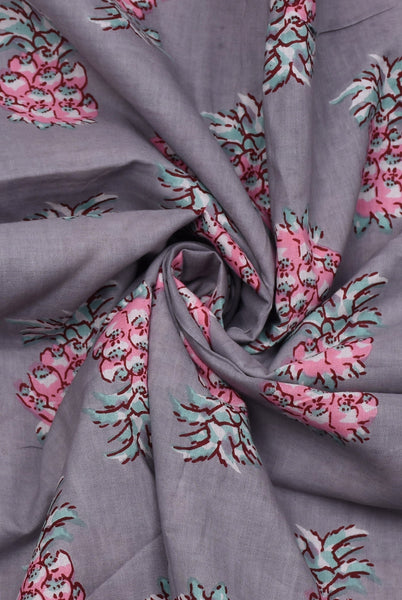 Grey Flower Print Rayon Fabric