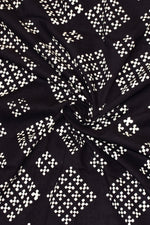 Black Abstract Print Handblock Fabric
