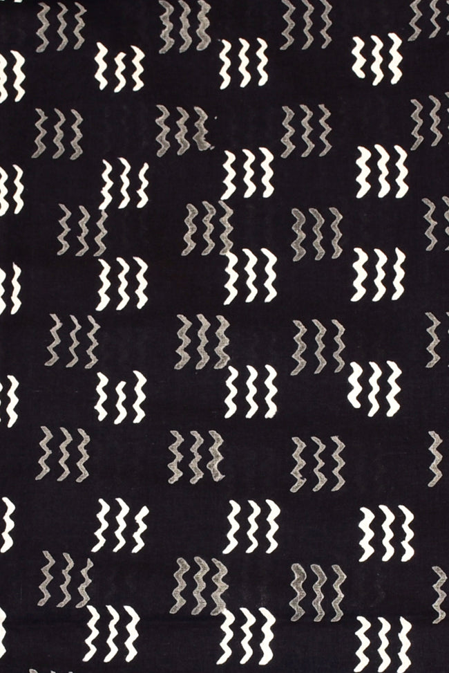 Black Wave Print Handblock Fabric
